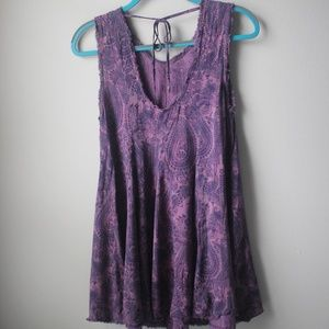 UO Ecote Raw Hem Purple Shift Dress